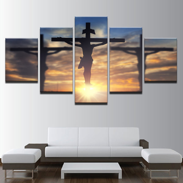 Jesus Christ Cross Crucifixion 5 Panel Canvas Print Wall Art