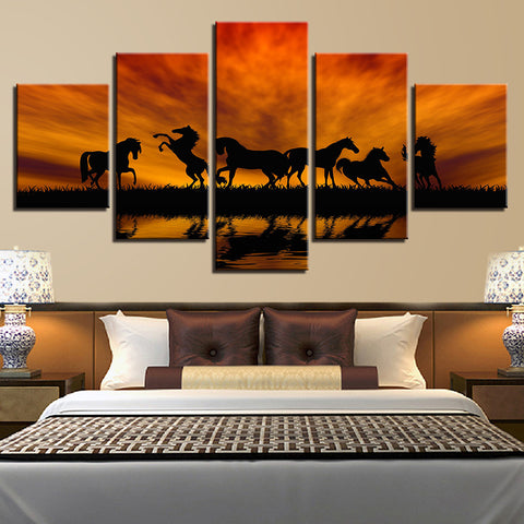 Wild Horses Playing 5 Panel Canvas Print Wall Art