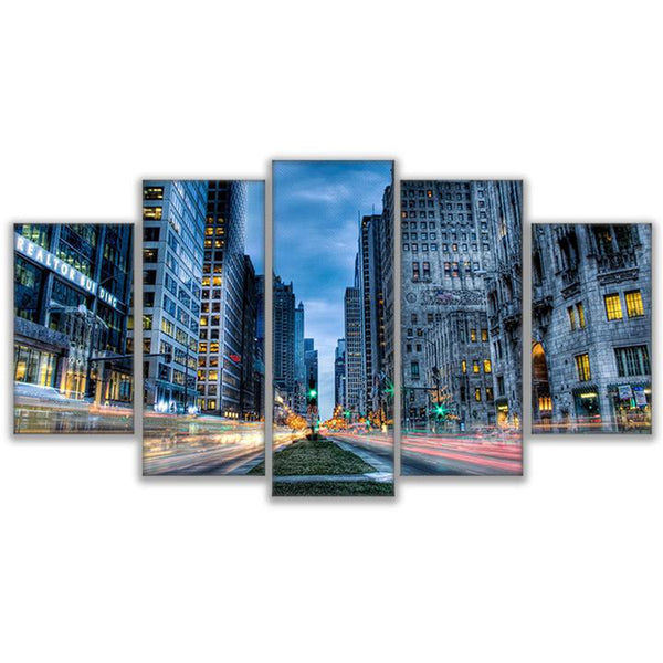Chicago Twilight Time Lapse 5 Panel Canvas Print Wall Art Canvas Print Got It Here