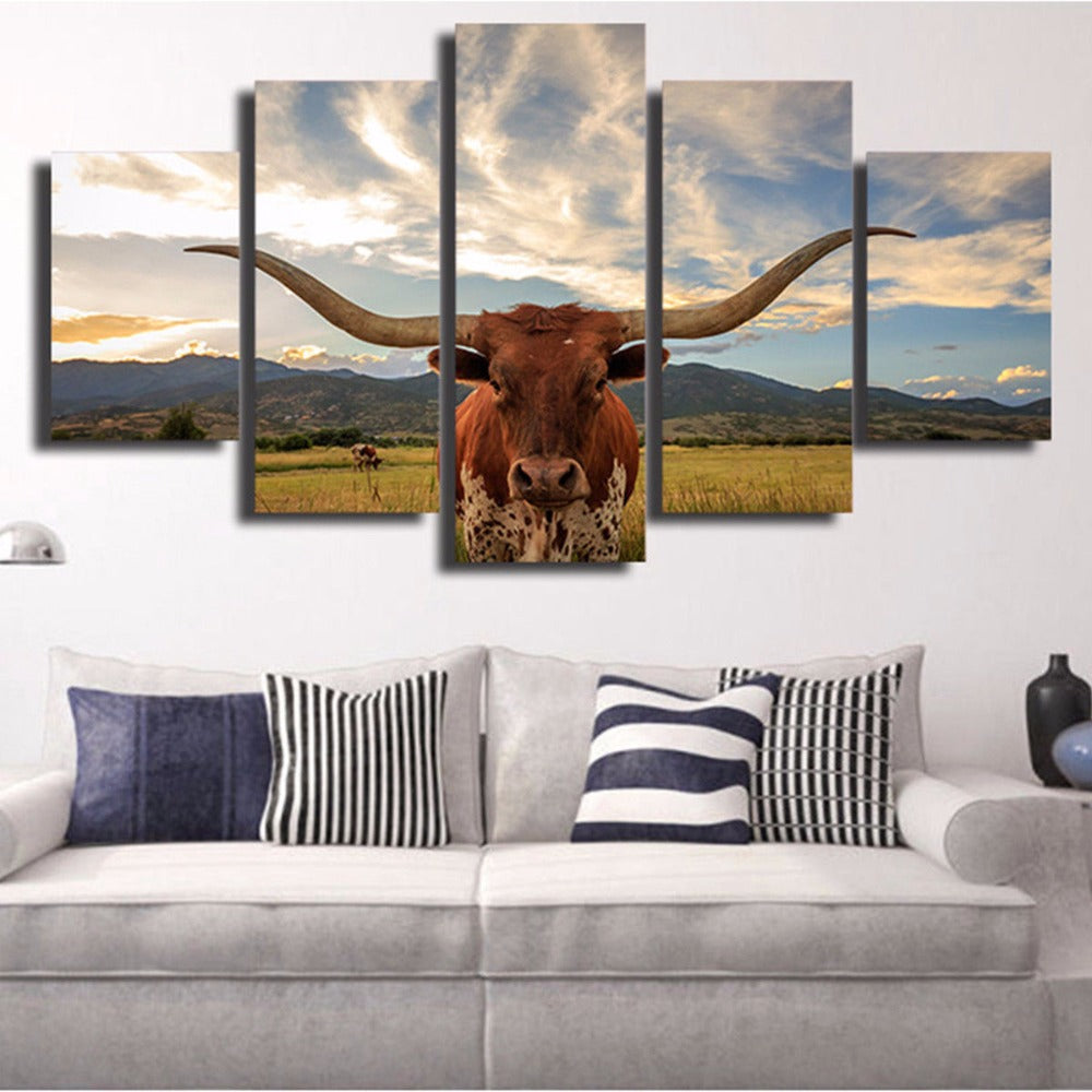 Texas Longhorn 5 Panel Canvas Print Wall Art Canvas Print Got It Here