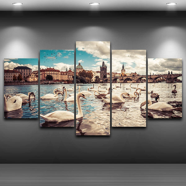 Charles Bridge, Prague, Czech Republic 5 Panel Canvas Print Wall Art Canvas Print Got It Here