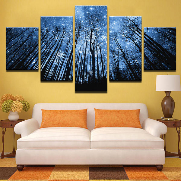 Starry Night In The Forest 5 Piece Canvas Print Wall Art Canvas Print Got It Here