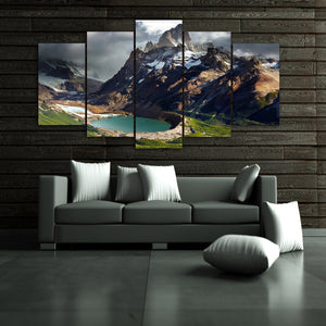 Patagonia Mountain Lake Argentina 5 Panel Canvas Print Wall Art