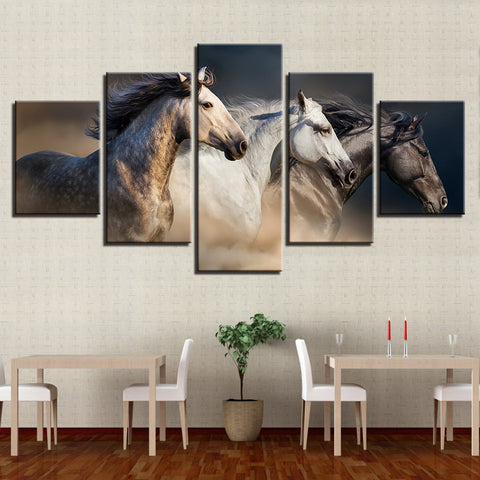 Wild Horses Running 5 Panel Canvas Print Wall Art