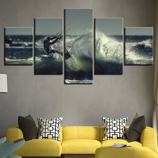 Kite Surfing 5 Panel Canvas Print Wall Art