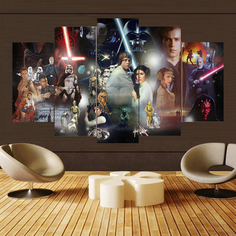 Star Wars Character Collage 5 Panel Canvas Print Wall Art Canvas Print Got It Here