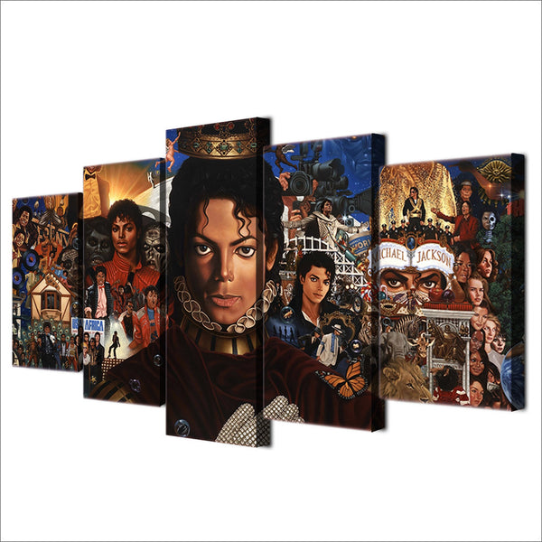 Michael Jackson Collage 5 Panel Canvas Print Wall Art