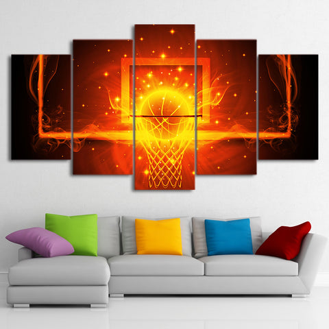 Basketball Hoop 5 Panel Canvas Print Wall Art Fire Flames Canvas Print Got It Here