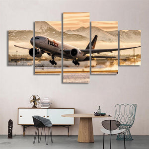 FedEx Boeing 757 Landing Morning Mountains 5 Panel Canvas Print Wall Art Canvas Print Got It Here
