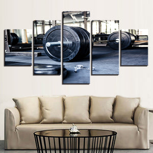 Weightlifting Gym 5 Panel Canvas Print Wall Art