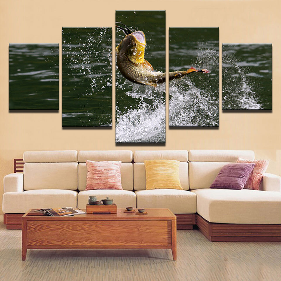 Peacock Bass Jumping 5 Panel Canvas Print Wall Art Canvas Print Got It Here