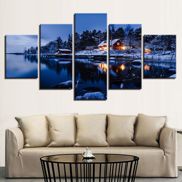Snowy Cabin On A Lake 5 Panel Canvas Print Wall Art Canvas Print Got It Here
