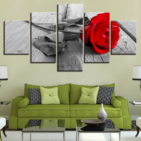 Red Rose 5 Panel Canvas Print Wall Art Canvas Print Got It Here