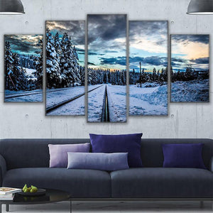Frozen Train Tracks 5 Panel Canvas Print Wall Art Canvas Print Got It Here
