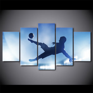 Soccer Bicycle Kick 5 Panel Canvas Print Wall Art
