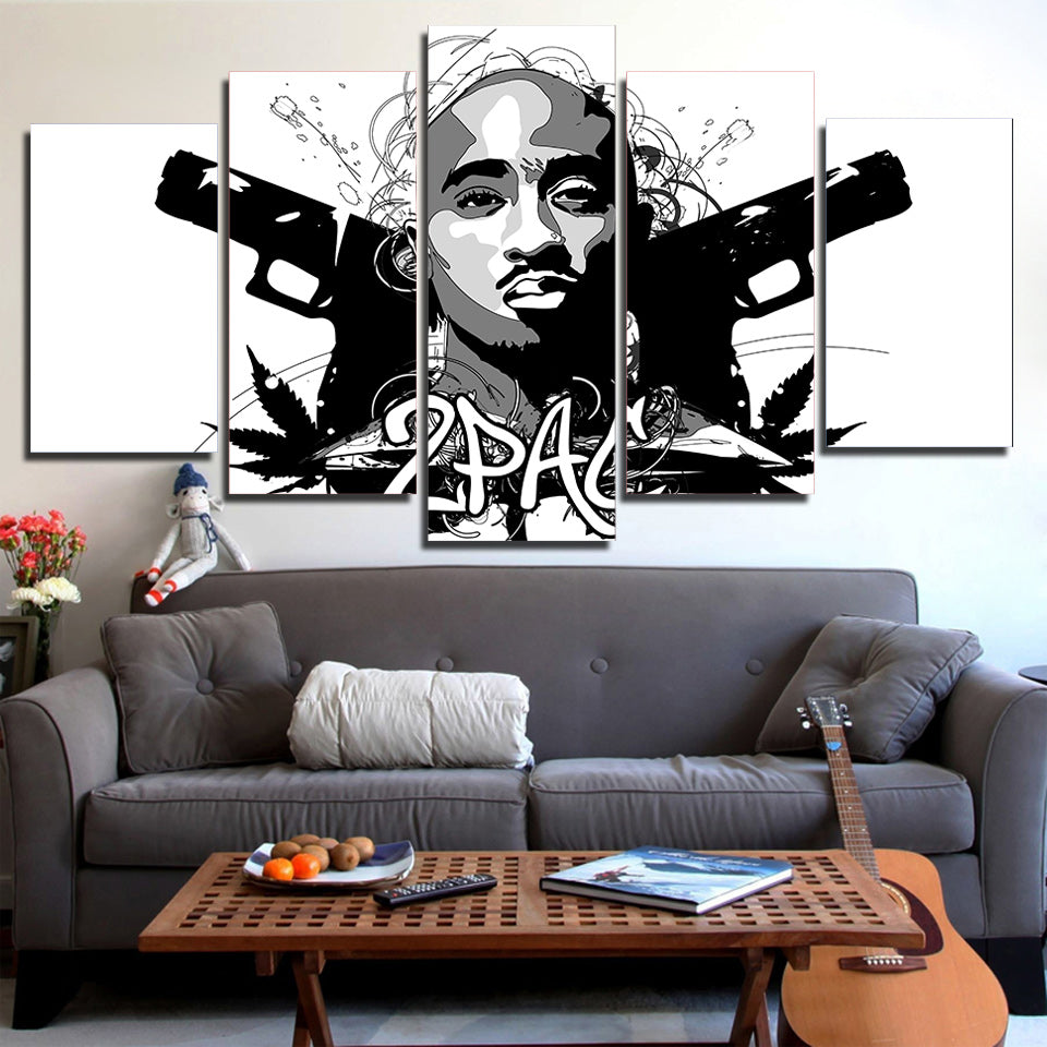 2Pac Tupac Abstract Portrait 5 Panel Canvas Print Wall Art Canvas Print Got It Here