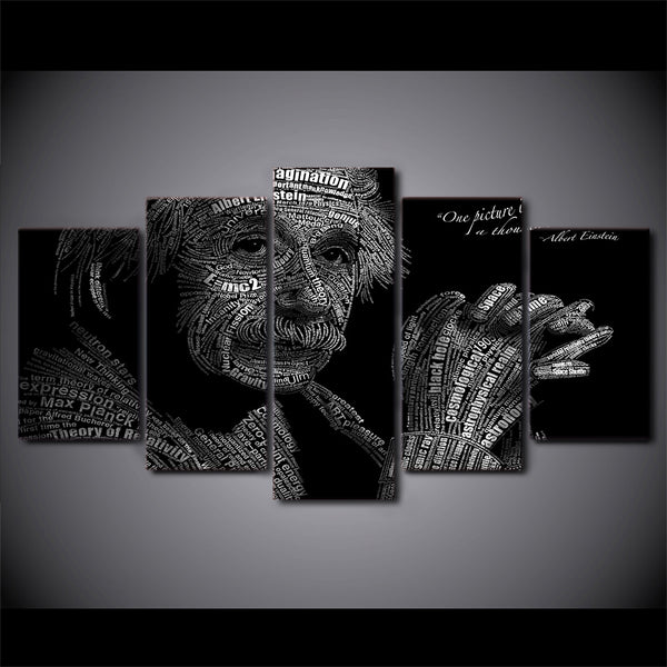 Albert Einstein Abstract 5 Panel Canvas Print Wall Art Canvas Print Got It Here