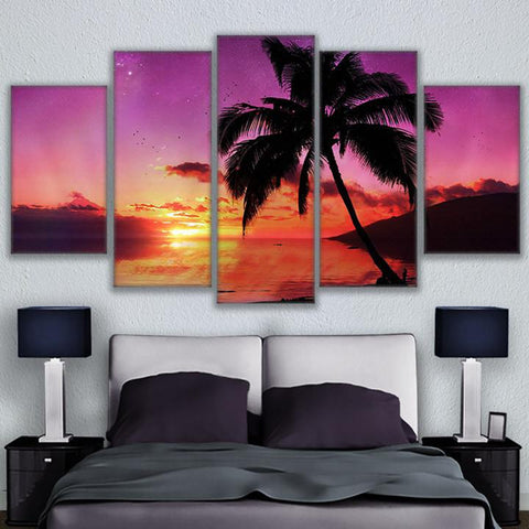Sunset Palm Tree On The Beach 5 Panel Canvas Print Wall Art Canvas Print Got It Here