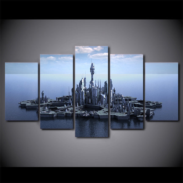 Stargate Atlantis 5 Panel Canvas Print Wall Art