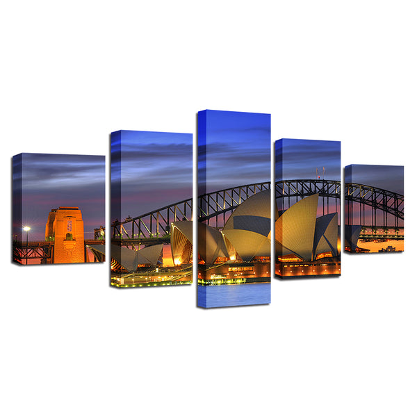 Sydney Harbor Opera House Australia 5 Panel Canvas Print Wall Art