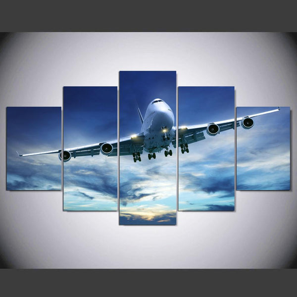 Boeing 747 5 Panel Canvas Print Wall Art