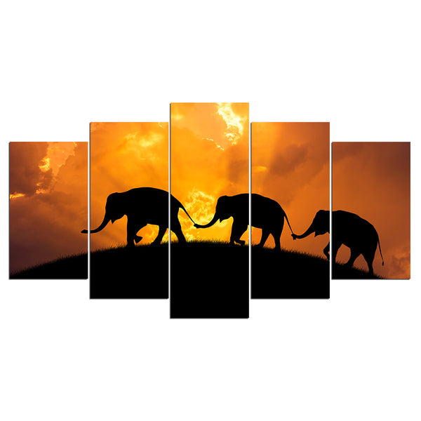Elephant Parade Around The Globe 5 Panel Canvas Print Wall Art