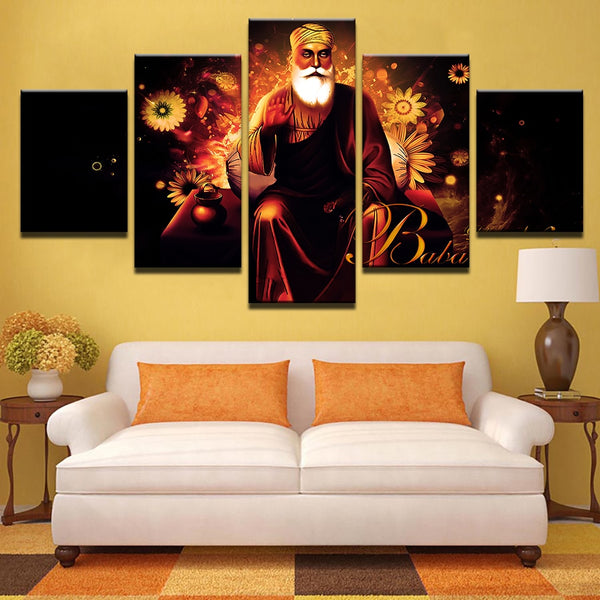 Tibetan Buddhism Guru Nanak 5 Panel Canvas Print Wall Art