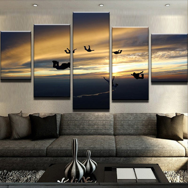 Sky Divers Skydiving 5 Panel Canvas Print Wall Art Canvas Print Got It Here