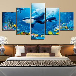 Killer Whales Orcas On The Reef 5 Panel Canvas Print Wall Art