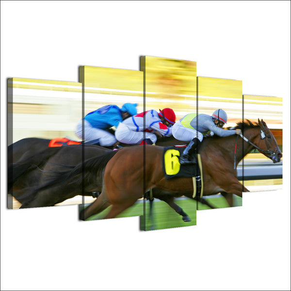 Horse Racing 5 Panel Canvas Print Wall Art Canvas Print Got It Here