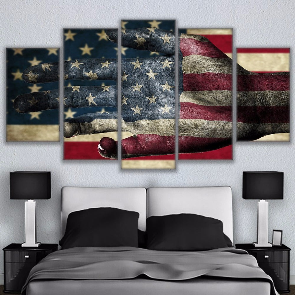 American Flag Helping Hand 5 Panel Canvas Print Wall Art Canvas Print Got It Here
