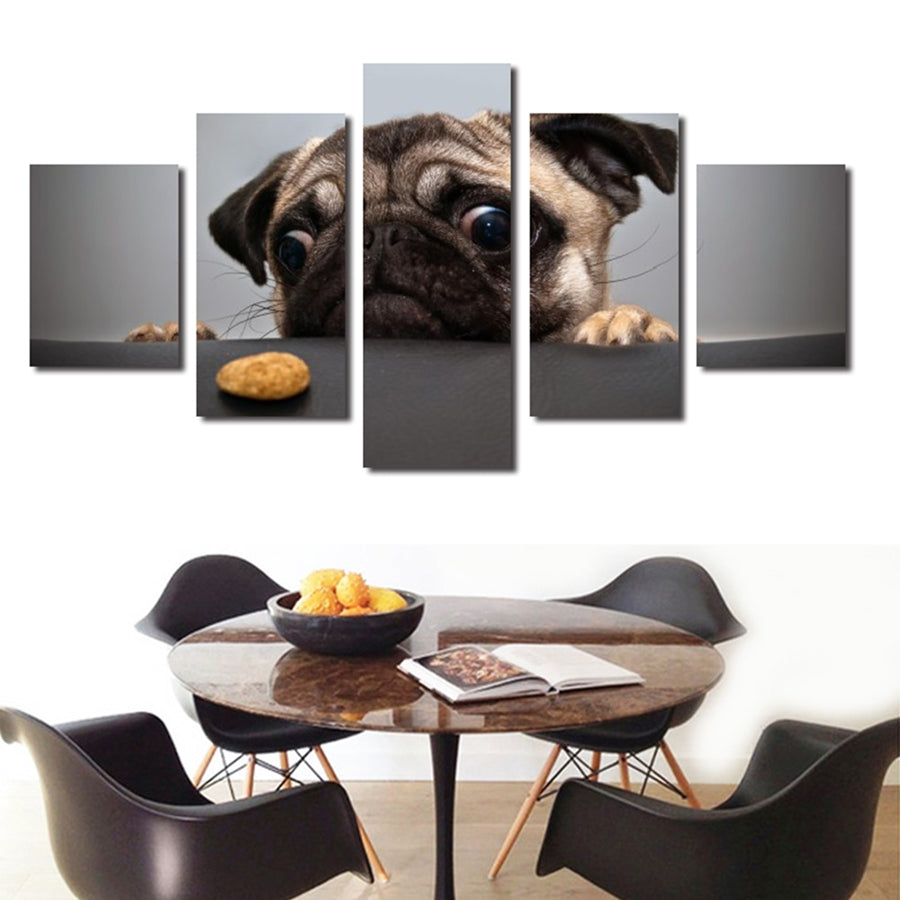 Pug Wants A Cookie 5 Panel Canvas Print Wall Art
