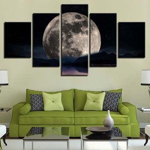 Full Moon Over The Lake 5 Panel Canvas Print Wall Art