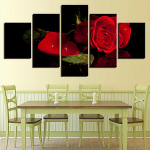 Red Rose 5 Panel Canvas Print Wall Art