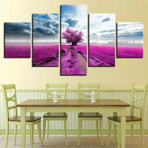 Purple Lavender Tree In A Field 5 Panel Canvas Print Wall Art