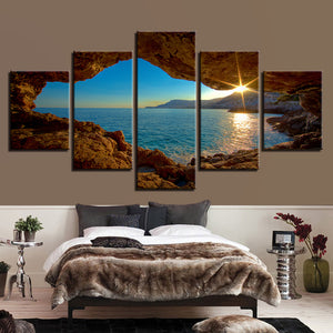 Sunrise From An Ocean Cave 5 Panel Canvas Print Wall Art
