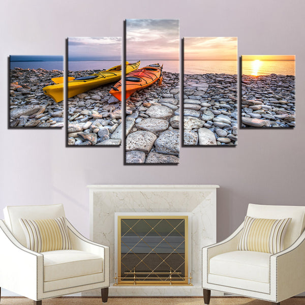 Kayaks At Sunset 5 Panel Canvas Print Wall Art