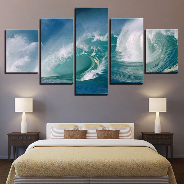 Big Breaking Waves Surf 5 Panel Canvas Print Wall Art