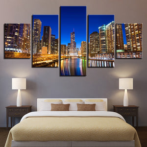 Chicago River At Night 5 Panel Canvas Print Wall Art Canvas Print Got It Here