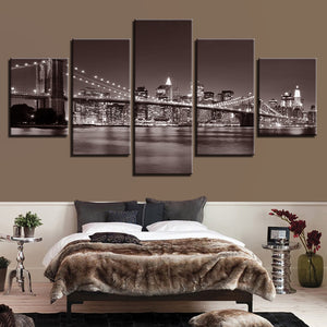 Brooklyn Bridge New York City 5 Panel Canvas Print Wall Art Canvas Print Got It Here