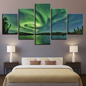 Northern Lights 5 Panel Canvas Print Wall Art Canvas Print Got It Here