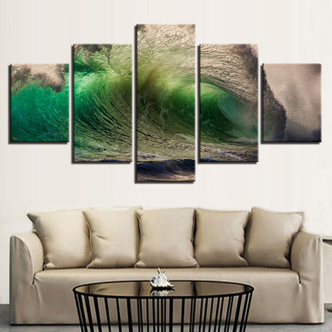 Green Breaking Wave 5 Panel Canvas Print Wall Art Canvas Print Got It Here