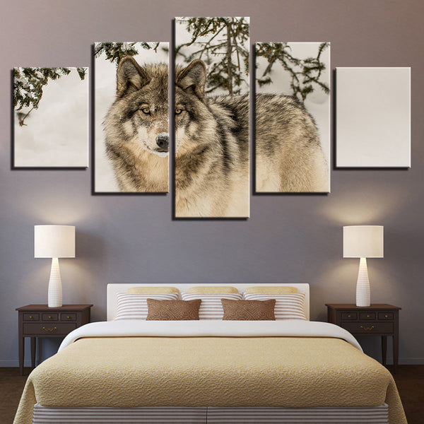 Wolf 5 Panel Canvas Print Wall Art Canvas Print Got It Here