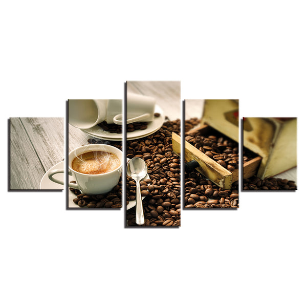 Coffee Cafe Restaurant Coffee Shop 5 Panel Canvas Print Wall Art Canvas Print Got It Here
