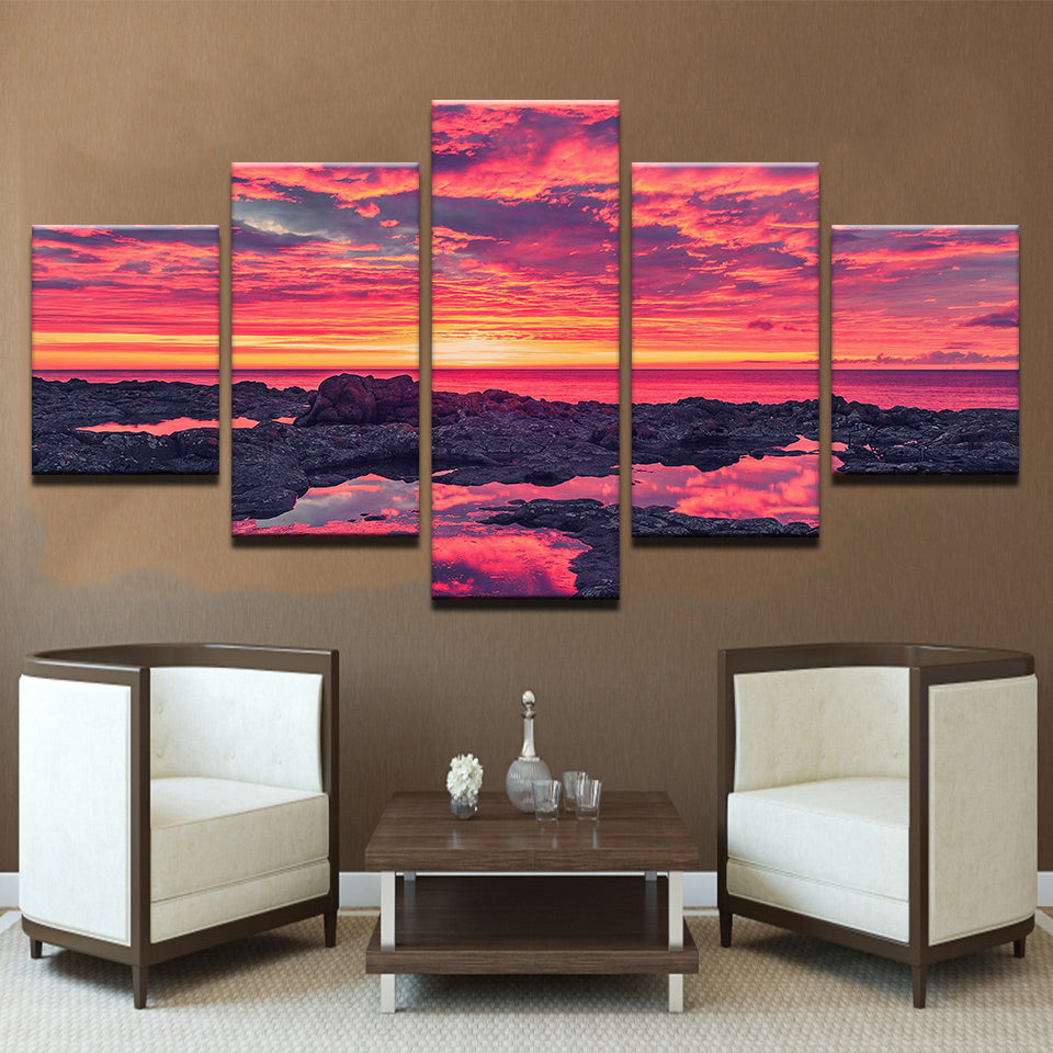 Colorful Sunrise At The Beach 5 Panel Canvas Print Wall Art Canvas Print Got It Here