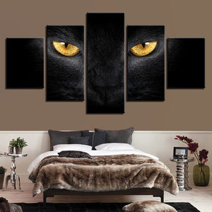 Black Cat Yellow Eyes 5 Panel Canvas Print Wall Art Canvas Print Got It Here
