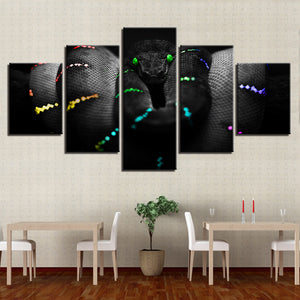Multi-color Green Tree Python 5 Panel Canvas Print Wall Art Canvas Print Got It Here