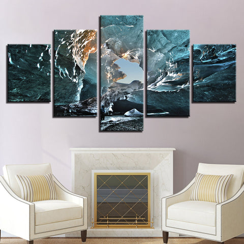 Ice Cave 5 Panel Canvas Print Wall Art