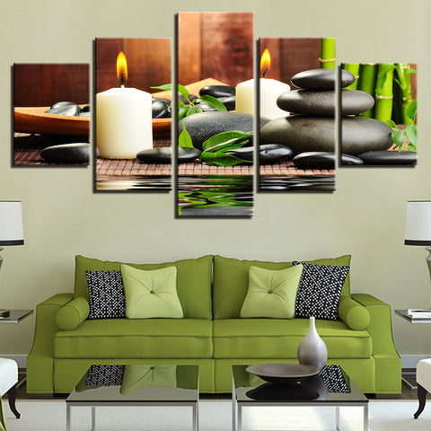 Bamboo Candles Stones 5 Panel Canvas Print Wall Art Canvas Print Got It Here