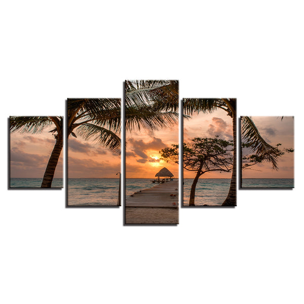 Pier On Tropical Beach At Sunset 5 Panel Canvas Print Wall Art Canvas Print Got It Here